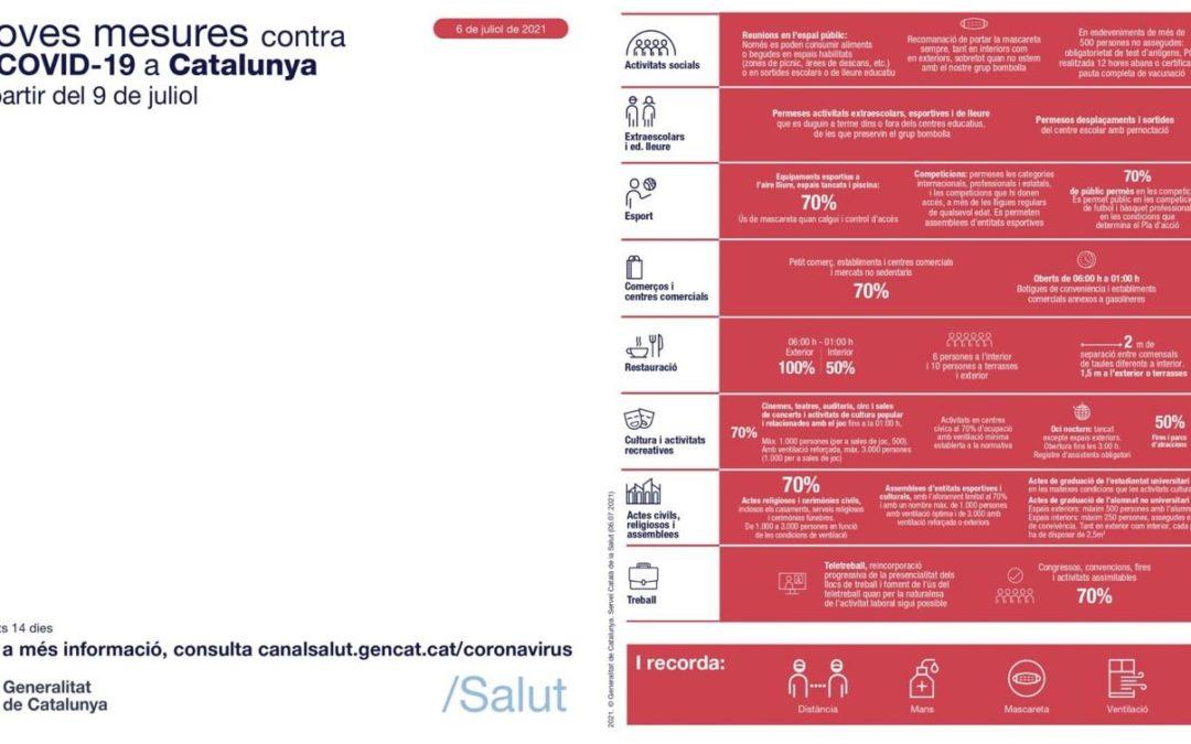 Noves mesures contra la Covid 19 a Catalunya a partir del 9 de juliol